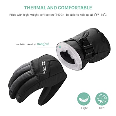 FREETOO Men's Ski Gloves High Breathable TPU Waterproof Membrane 340g Soft Cotton Warm Snowboard Gloves