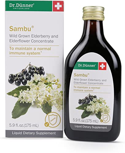 Black Sambucus Elderberry Syrup 5.9oz – Highest Concentration Daily Immune Support with Elderflower – Non GMO Vegetarian – by Dr. Dunner