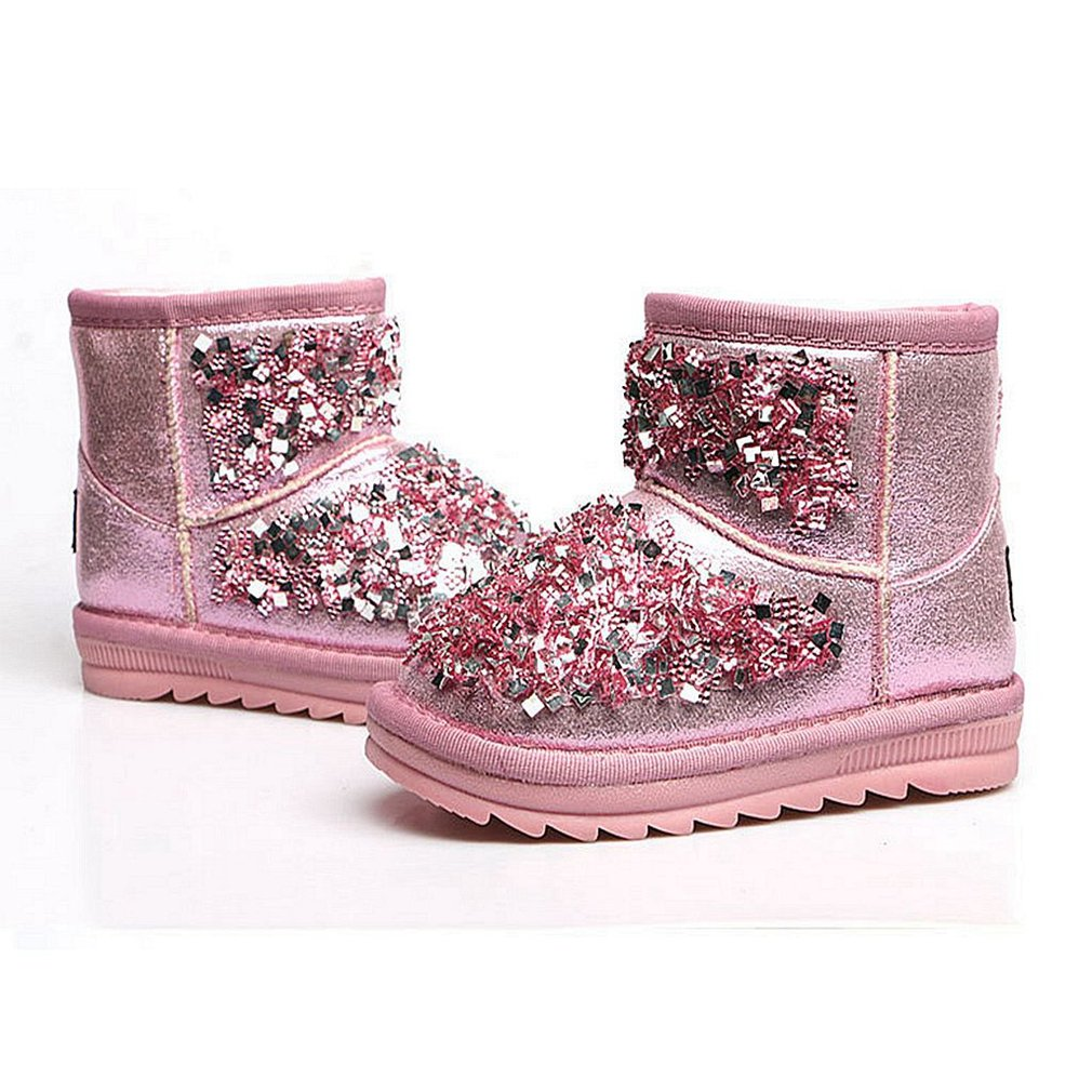 CYBLING Toddler Girl Sequin Sparkle Anti Slip Soft Sole Fur-Lined Snow Boots