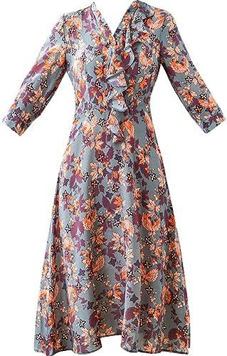 BINGQZ Casual Vestido Vestido de Seda Estampado de Primavera y ...