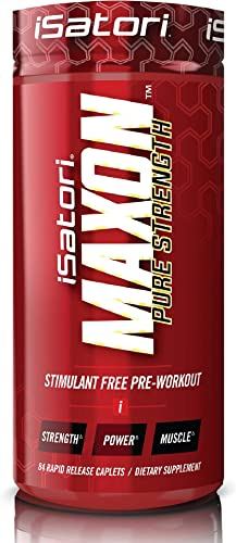 iSatori Maxon Pre Workout Stimulant Free – Fenugreek and Kre Alkalyn Creatine Pure Strength Muscle Gainer Lasting Energy For Men and Women Keto Friendly – Dietary Supplement – 84 Rapid Release Caplets