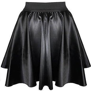 7bfd7d43ac Womens PVC Wet Look Mini Skater Skirt Ladies Girls Black Flared Fux leather  Skirt (S