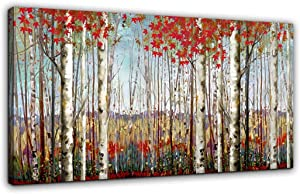 Canvas Wall Art for Living Room Bedroom Modern Wall Decor of Red Leaves White Birch Tree Forest Giclee Print Painting Artwork Wall Decoration 24x48 Large Size with Wood Framed Easy to Hang for Home
