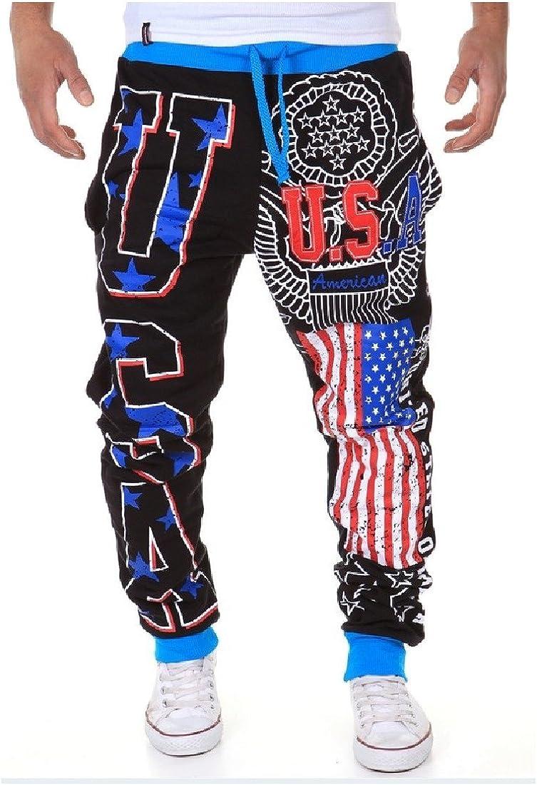 SportsX Mens Drawstring Comfy Patriotic Star Sport Pants Casual Trousers