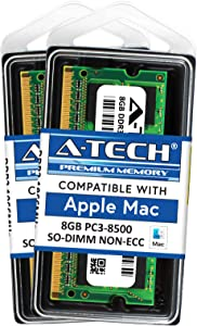 A-Tech 16GB Kit (2x8GB) DDR3 1066MHz / 1067MHz PC3-8500 SODIMM RAM for Apple MacBook (13 inch, Mid 2010), MacBook Pro (13 inch, Mid 2010), iMac (27 inch, Late 2009), Mac Mini (Mid 2010)