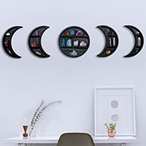 EOKI 5 Pieces Black Moon Phase Shelf Set - Phases of The Moon Wall Decor - Crescent Moon Shelf for Crystals - Moon Phase Wall Decor Crystal Shelf Display - Above Bed Wall Decor Bedroom Wall Storage