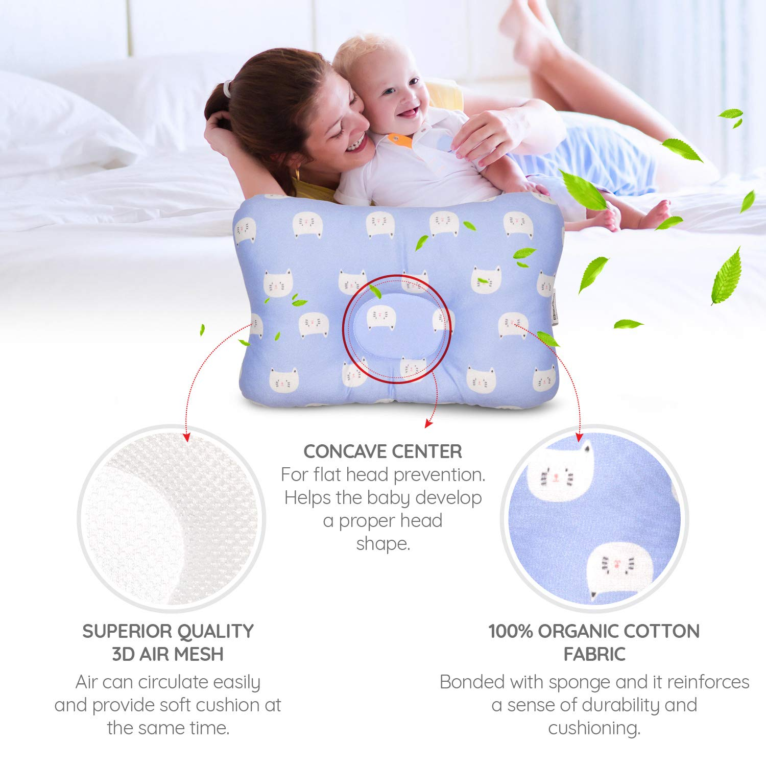 Flat Head Baby Pillow by CeFuMo Soft Neck Support to Help Prevent Reflux and Flathead Breathable 3D Air Mesh Cotton Baby Head Shaping Pillow for Infants