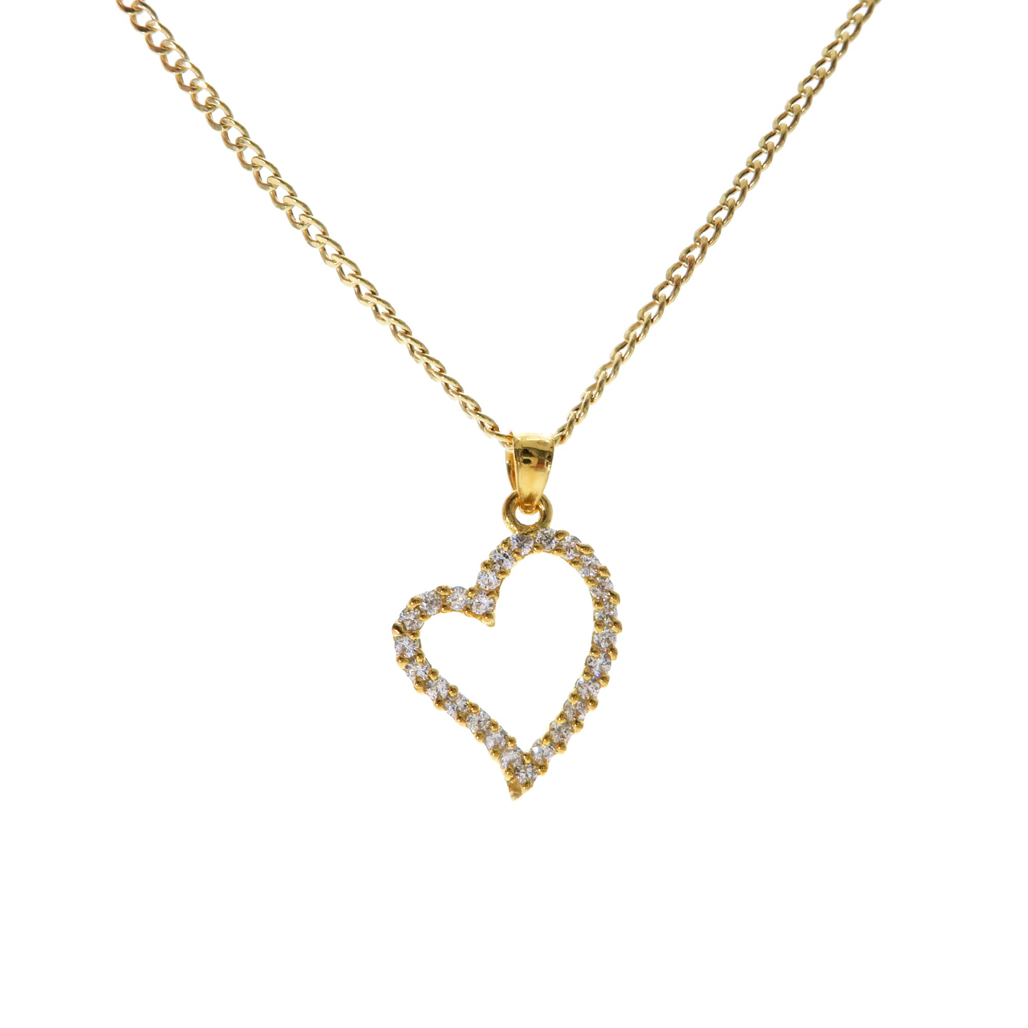Genuine Stamped 10K Yellow Gold Cuban Curb Link Chain Small Charm Pendant Necklace [ASSORTED SETS] (Heart + 22 Inches Necklace)