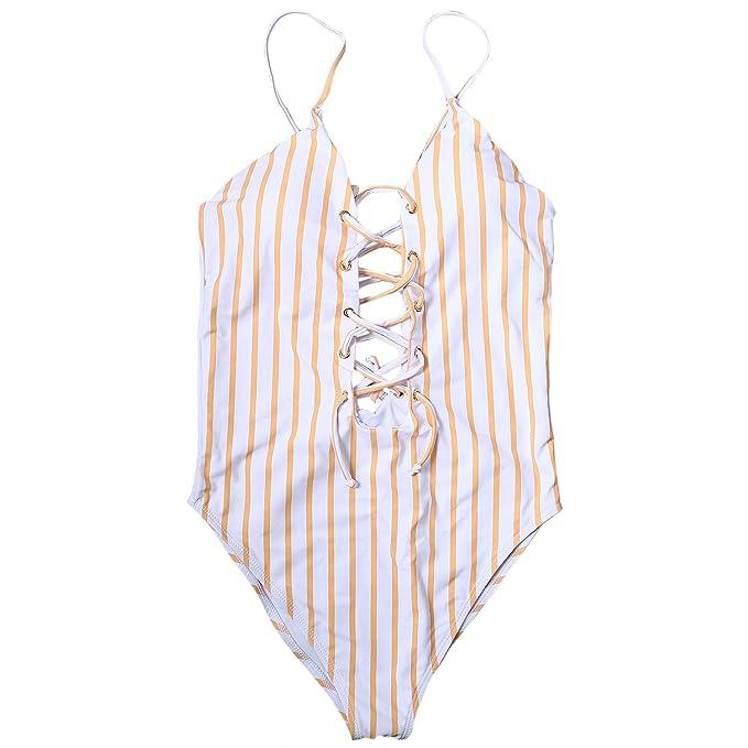a28078ed JewelryWe Bikini Amarillo 2018 Sexy Bikinis de Rayas para Mujer ...