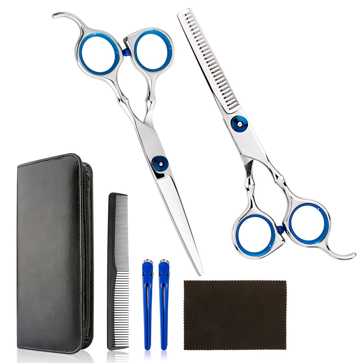 Professional Home Hair Cutting Kit - Quality Home Haircutting Scissors Barber/Salon/Home Thinning Shears Kit with Comb and Case for Men and Women by Himart