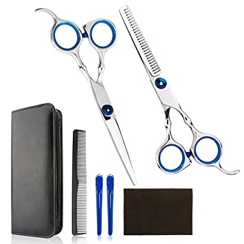 Professional Home Hair Cutting Kit , Quality Home Haircutting Scissors  Barber/Salon/Home Thinning Shears Kit with Comb and Case for Men and Women