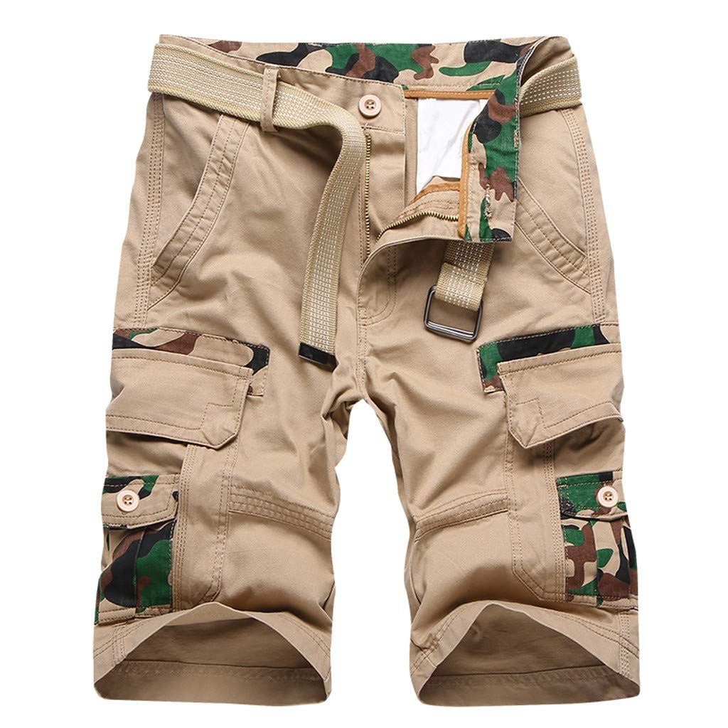 HOSOME Daily Soft Men's Fashion Casual Cotton Multi-Pocket Outdoors Work Trouser Cargo Short Pants (38, Khaki)
