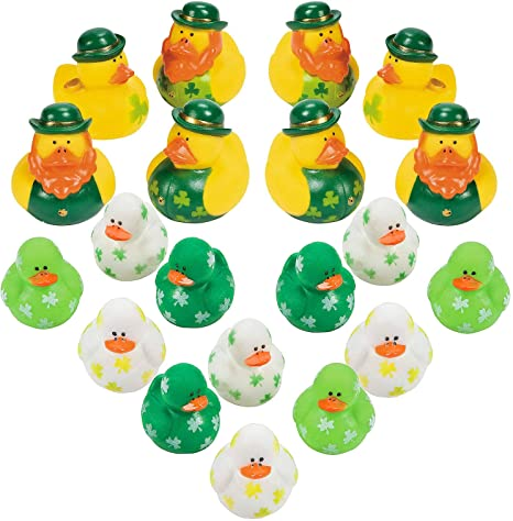 and 24 Mini Shamrock Rubber Duckies Stress Tension Anxiety Relief St Patricks Day Toys and Party Favors 24 Shamrock Relaxable Balls 4Es Novelty Mini Shamrock Party Favors