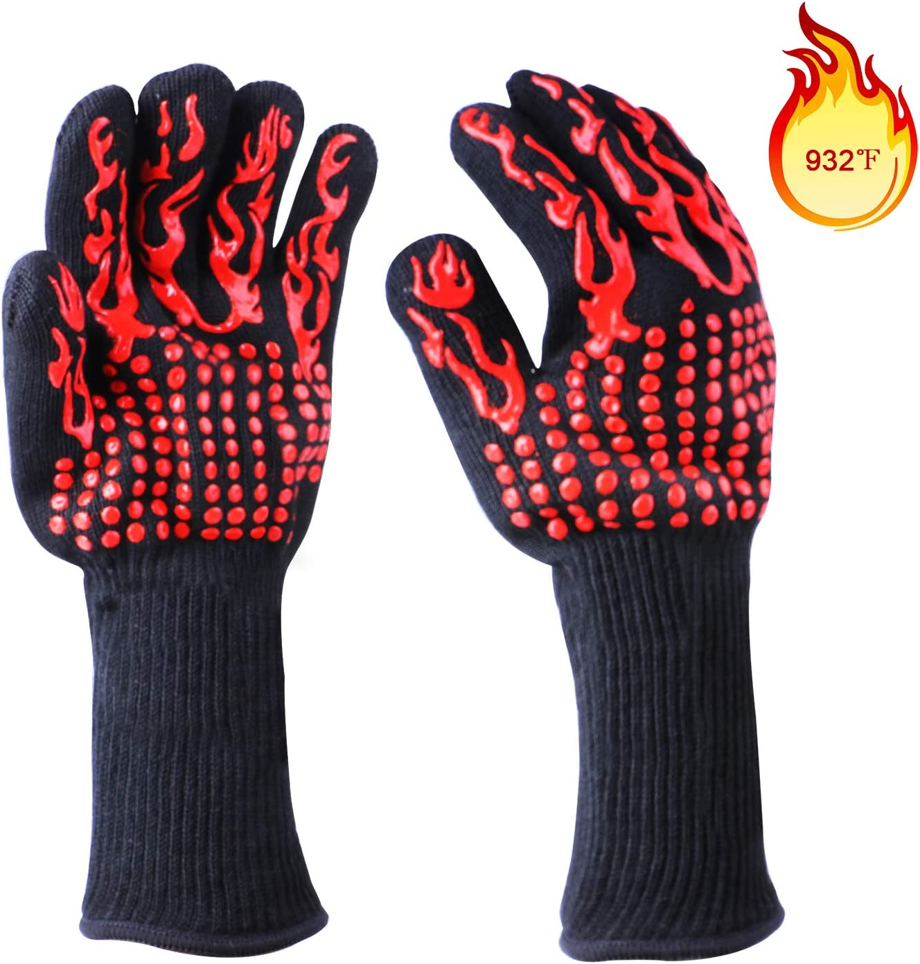 MM20LEMO BBQ Grill Gloves, 932°F Extreme Heat Resistant Grilling, Cooking, Baking, Welding Gloves Non-Slip Oven Mitts Potholder(1 Pair) (red)
