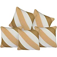 Decor Studioz Brown and Gold Cushion Cover Geometric Design Synthetic Set of 5 Pcs (16x20-inches)