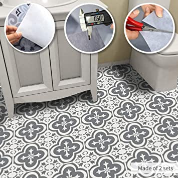 Alwayspon Non-Slip Vinyl Floor Sticker, Waterproof PVC Backsplash Tile  Decal, Self-Adhesive Peel and Stick Wall Sticker for Home Decor,  23.6x47.2inch ...