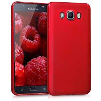 kwmobile Funda para Samsung Galaxy J7 (2016) - Carcasa para móvil en [TPU Silicona] - Protector [Trasero] en [Rojo Oscuro Metalizado]