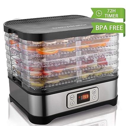 Hopekings Deshidratador de Alimentos con 5 Bandejas ajustables , Pantalla LCD,Temporizador, Temperatura ajustable