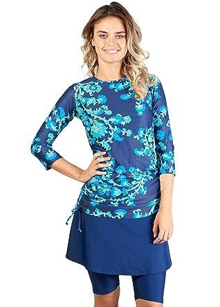 39b016f1cf Amazon.com  Ella Mae Modest Swimsuit for Women with 3 4 Sleeve Swim Shirt  and Knee Length Swim Skirt with Swim Capri Leggings (S-XXXL)  Clothing