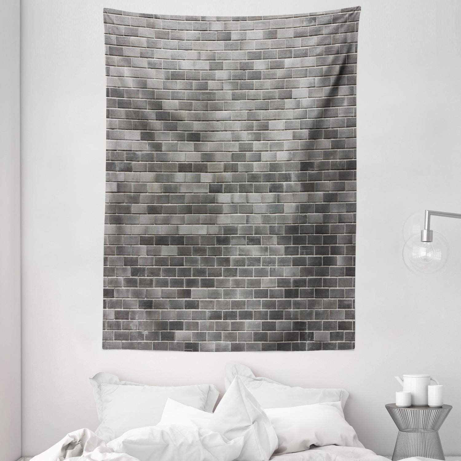 US 3D Gray Brick Decorative Tapestry Wall Hanging Living Room Decor Beach Towels
