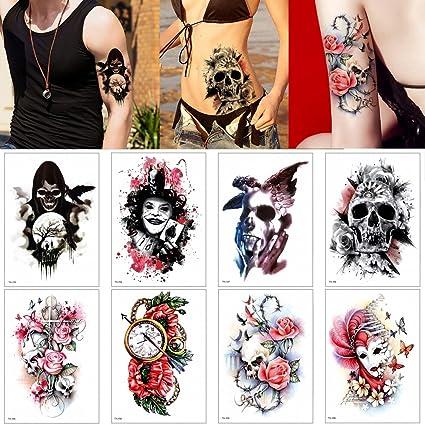 8 Hojas Temporales De Tatuaje Adhesivo Calavera Impermeable Colorido