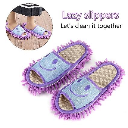 1 paio di ciabatte lavabili in microfibra per pavimenti in microfibra(Blu) kn94YxMS3