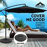 Instahut Cantilever Umbrella Outdoor Garden Sunshade UV-Resistant Umbrella with Base-Black
