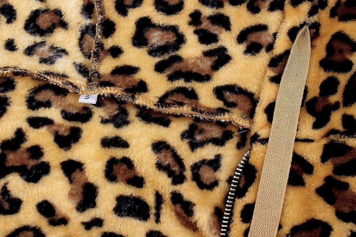 Womens Coat Leopard Lapel Fleece Fuzzy Faux Shearling Zipper Warm Winter Oversized Outerwear Jackets with Hood