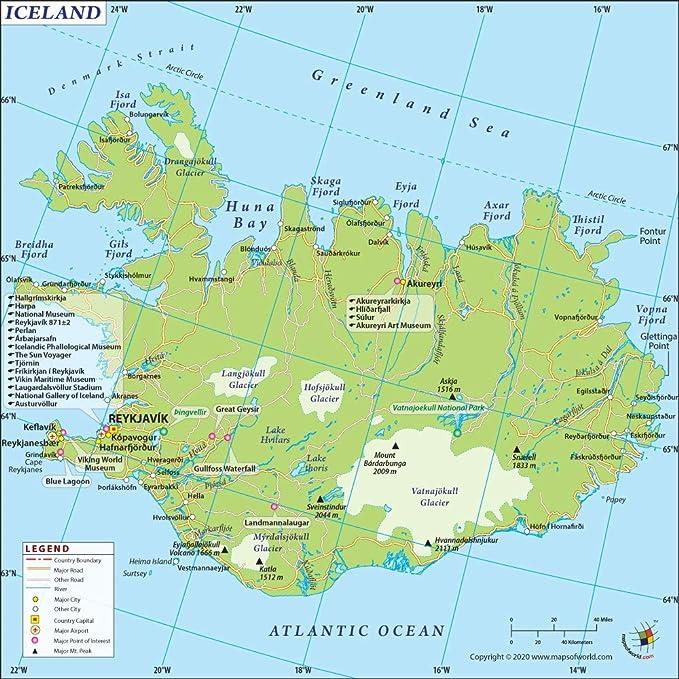 Islandia Mapa – Laminado (36 cm W x 91 cm H): Amazon.es: Oficina y papelería