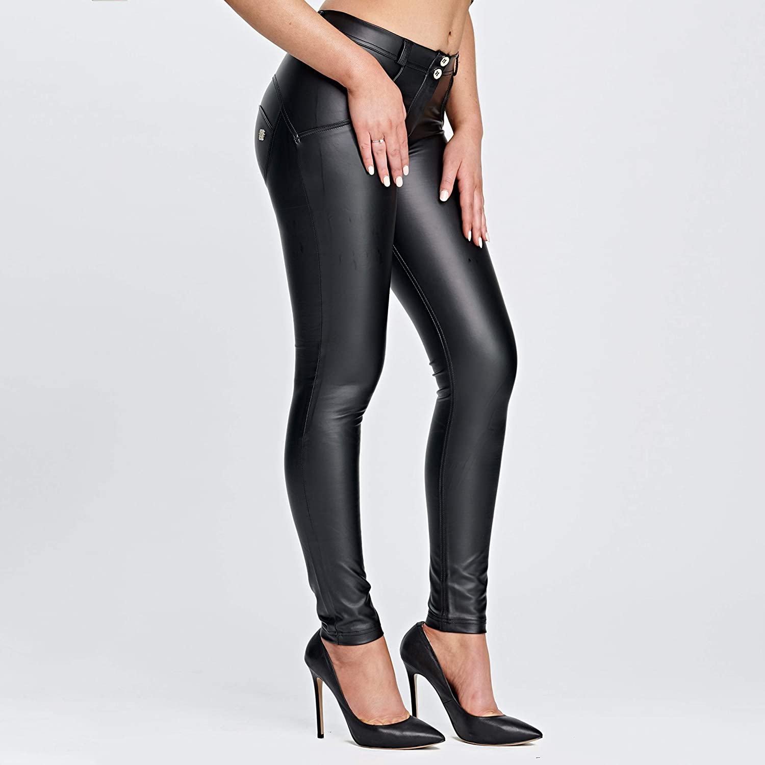 98256cec57c55e Freddy WR.UP Black Faux Leather Pants, Mid Waist at Amazon Women's Clothing  store: