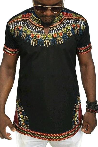 e84405e7ec750 Männer T-Shirt Dashiki Afrikanischen Stammes Kurze Ärmel Hip Hop schwarz S