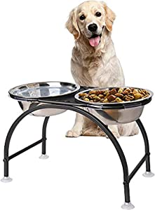 AISHN Elevated Dog Bowls Iron Stand Raised Pet Dog Feeder, 2 Removable Reusable Dog Bowls Stainless Steel Food and Water with Stand for Dogs