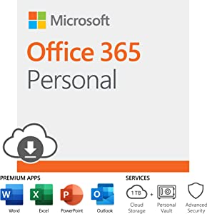 Microsoft Office 365 Personal | 12-month subscription with Auto-renewal, 1 person, PC/Mac Download
