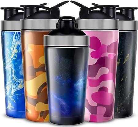 UShaker Botella de Agua para Deportes Personalizada, aislada al vacío, de Acero Inoxidable, Doble Pared, sin BPA, Botella batidora de proteínas