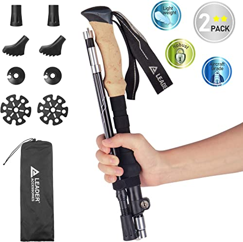Leader Accessories Adjustable Lightweight Carbon Fiber Hiking Walking Trekking Poles with Ergo Cork Quick Locks Up to 53 for Exploration, Backpacking, Climbing, Camping