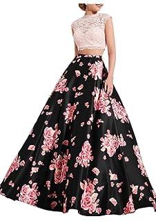 d74182d1406 Lily Wedding Womens 2 Piece Floral Prom Dress 2019 Long Aline Satin Evening  Formal Ball Gown