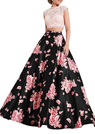 e978d62ac29ff Lily Wedding Womens 2 Piece Floral Prom Dress 2019 Long Aline Satin ...