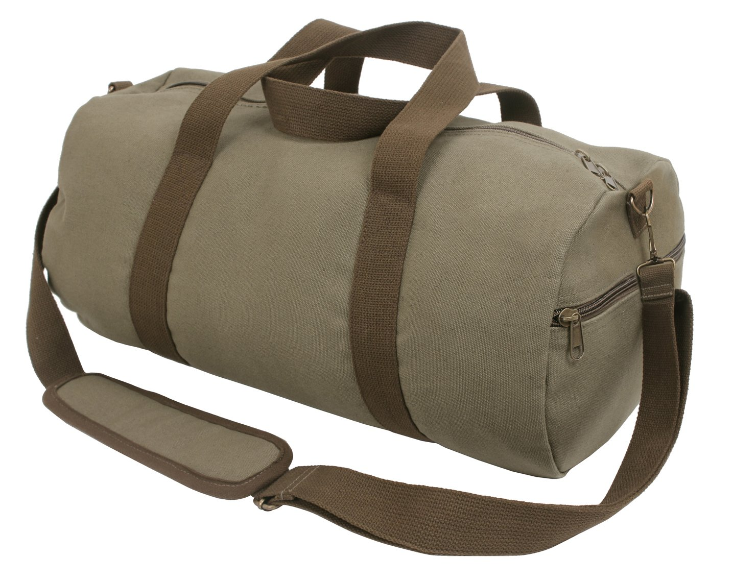 Vintage Olive with Brown Straps Rothco Two-Tone Canvas Shoulder Duffle Bag