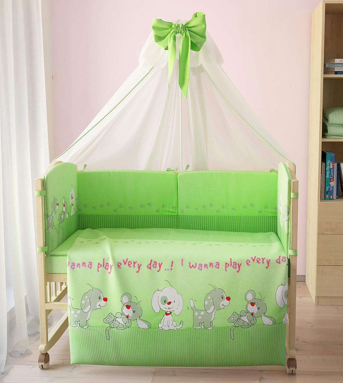 Polini Kids Baby Bett-Set W/äsche 140x70Funny Game gr/ün 7-tlg,1266-4