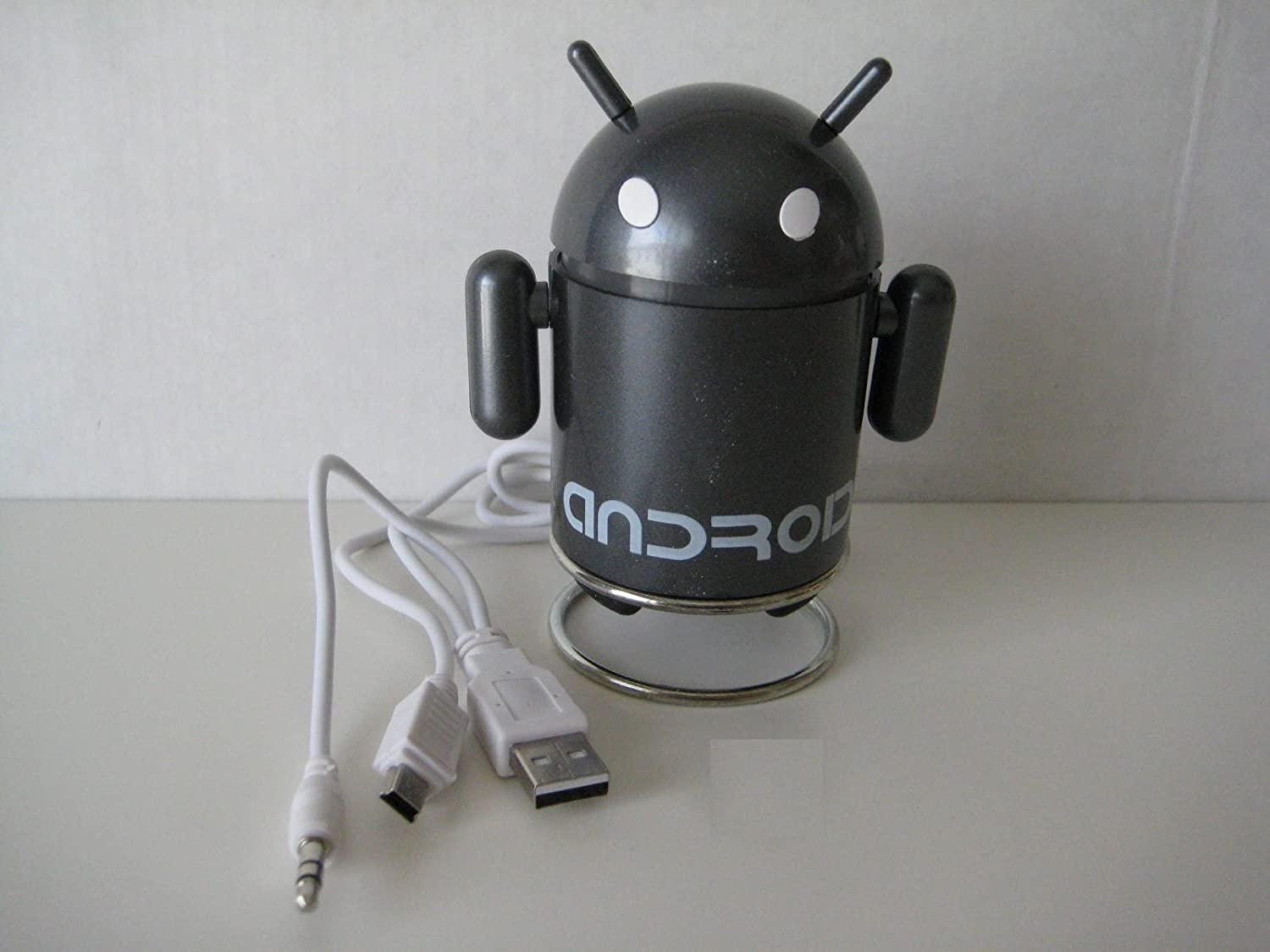 MAGNETIC GREY Android Robot Style USB Rechargeable FM//MP3 Player w// Stereo Speaker Micro SD /& TF Card input 3.5mm headphone; Color