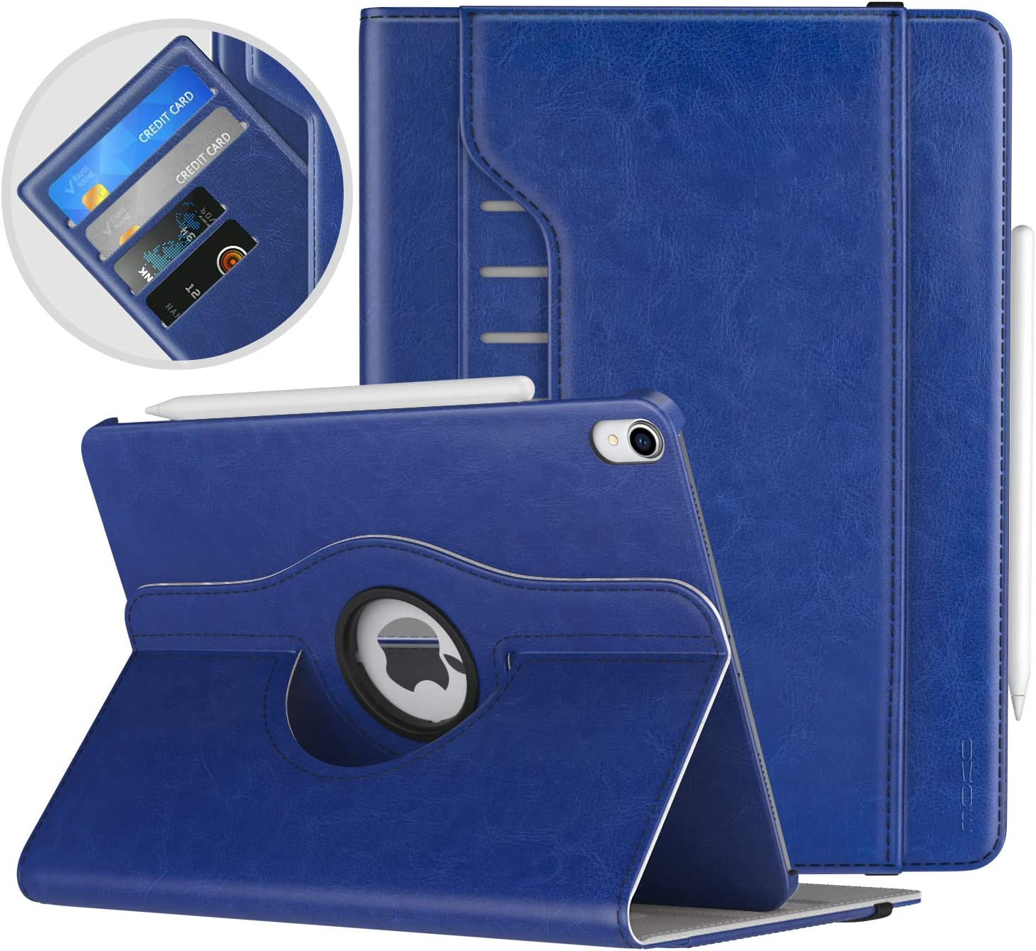 """MoKo Case Fit iPad Pro 11"""" 2018 - Support Apple Pencil Charging - 360 Degree Rotating Leather Cover Slim Folio Multi-Angle Viewing Stand Case, Auto Wake/Sleep Fit iPad Pro 11 2018 Case - Indigo"""