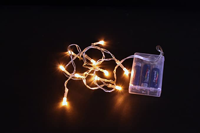 Catena di luci led a batteria led bianco caldo cavo trasparente