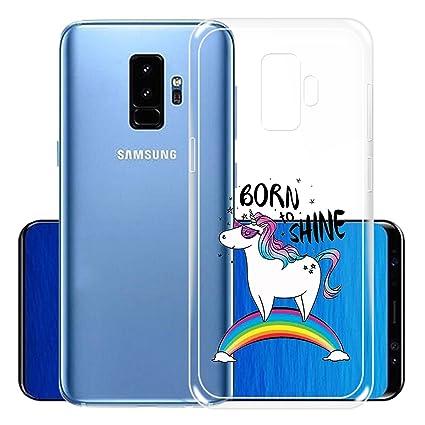 IJIA Funda para Samsung Galaxy S9 Plus Transparente Arco Iris Unicornio TPU Silicona Suave Cover Tapa Caso Parachoques Carcasa Cubierta para Samsung ...