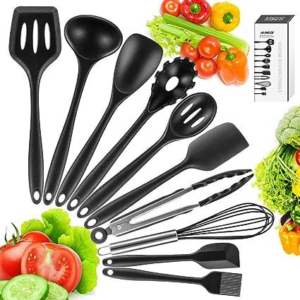 Oferta amazon: Newdora Utensilios de Cocina de Silicona Resistentes al Calor, 10 Piezas Herramientas antiadherentes para Hornear en la Cocina, Negro