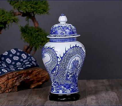 c1795da8e4 Amazon.com  ALL DECOR Blue and White Ceramic Urn Fine Chinese ...