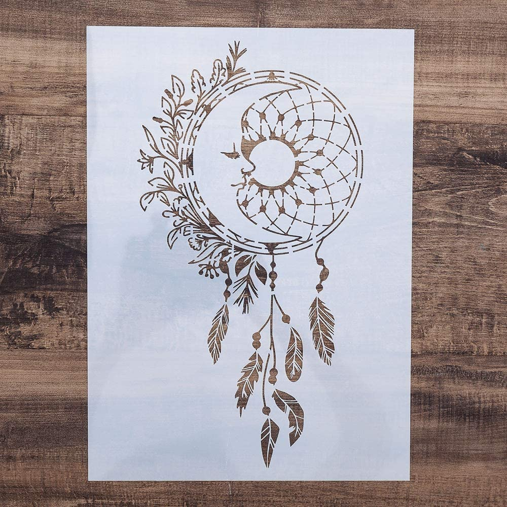DIY Painting Drawing Stencils Template for DIY Painting on Furniture Wood Wall Art Projects, Reusable (Dreamcatcher, A4 Size)