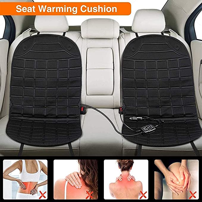 Heated Car Seat Cushion Universal 12V Heated Multifunctional Car Seat Heater Fast Adjustable Temperature for Cold Weather Winter Driving Safer Car Truck Home Office Chair Use 1pcs,Gray