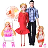 Toys Family of 5 People Baby Dolls Suits with Real Pregnant 1 Mom 1 Dad 2 Little Girls 1 Baby Son 1 Baby Carriage