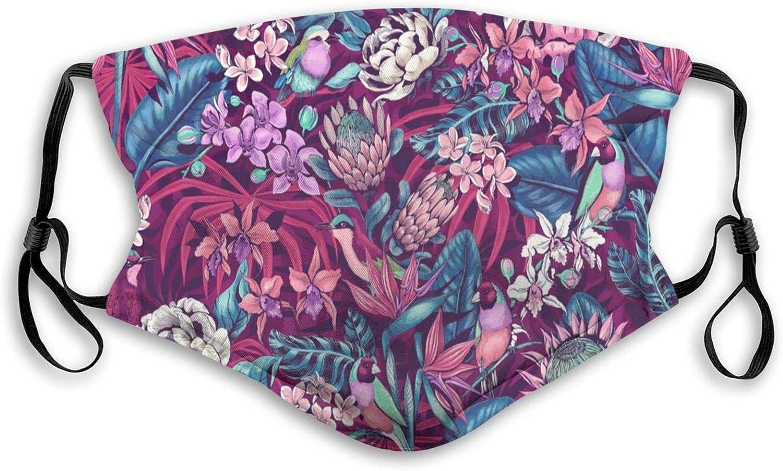 Purple Garden Flower Bird,Face Mask Reusable Washable Masks Cloth for Men and Women Black