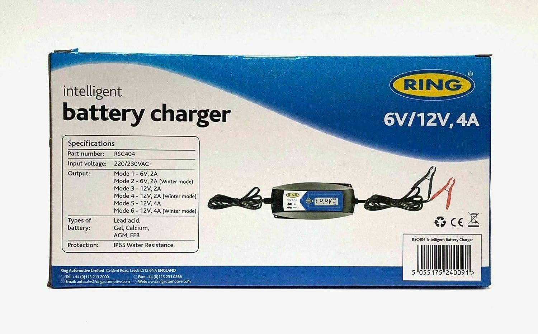 Ring RSC404 Intelligent Smart Battery Maintenance Charger 12V 6V Car Motorcycle